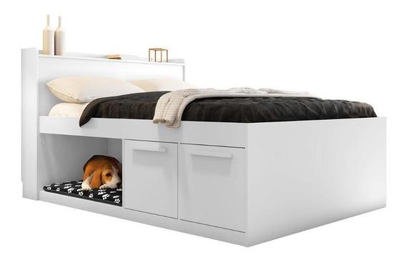 Cama Casal Pet Puppy Framar 1,38 Mdf E Mdp Branca