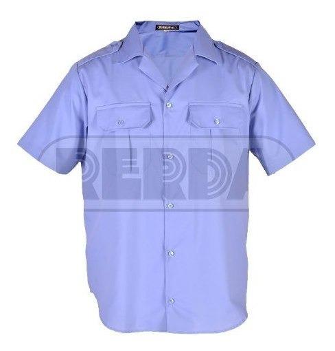 Camisa Manga Corta Policía Celeste Rerda T:46-50 En Cuotas