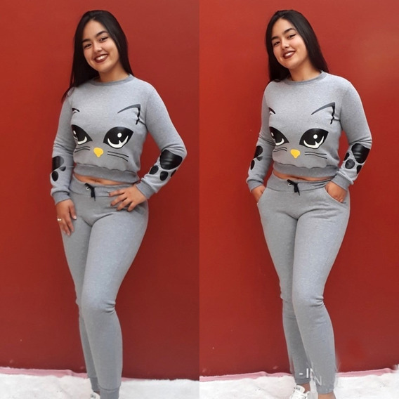Conjunto Mujer Buzo Pantalon Elastizado Deportivo Moda