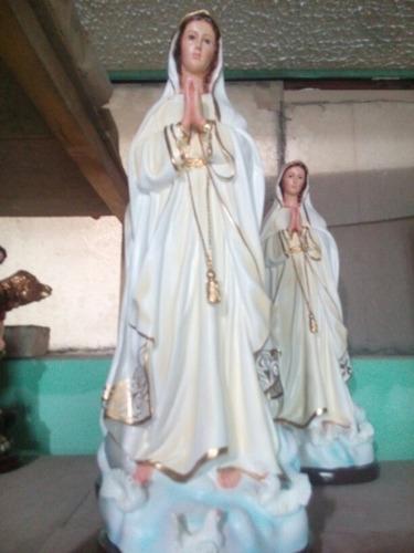 Virgen De Fatima En Yeso Acabado Fino De 65cm