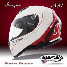Capacete Nasa Sh881 U. S. A Scorpion Branco X Vermeho Tam 56
