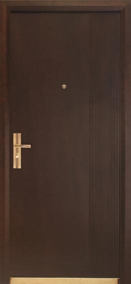 Puerta De Seguridad Viera Aper Der Acero + Madera Nogal