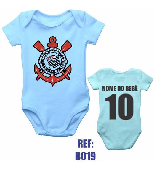 Body Infantil Corinthians Bebê Personalizado Com Nome