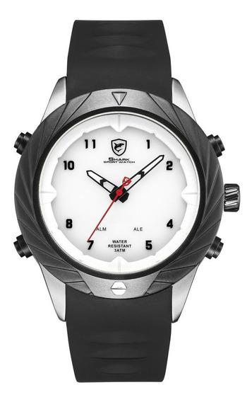 Pulseira De Gel Preto Duplo Display Relógio De Quartzo Relóg