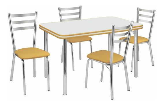 Conjunto De Mesa Gisele E 4 Cadeiras Jantar Cozinha-415/340x