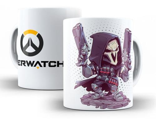 Imagem 1 de 7 de Caneca Overwatch Em Cerâmica Reaper, Genji Ou Mercy