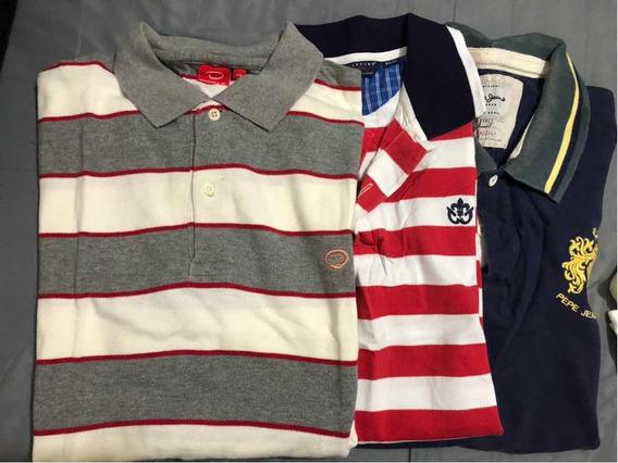 3 Camisas Tipo Polo Scapino Pepe Jeans Oscar De La Renta Xl