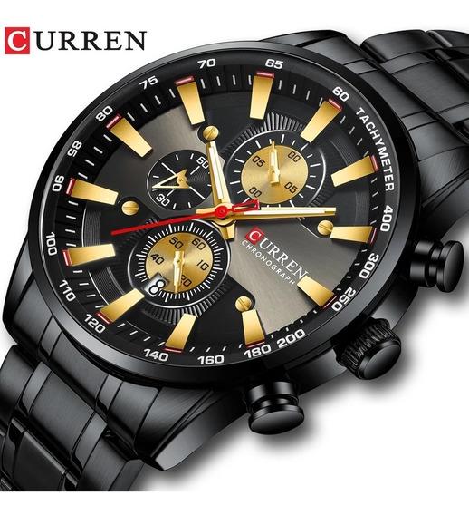 Relógio Curren 8351 Original Cronógrafo Funcional Aço Inox