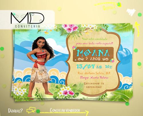 Imagem 1 de 5 de Convite Moana Sem Envelope Kit 10 Unid