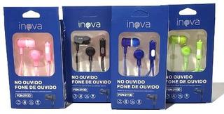 Kit 10 Fones De Ouvido Microfone Estéreo Várias Cores Inova