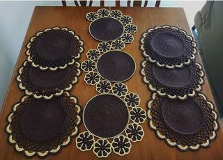 Centro/camino De Mesa Y 6 Individuales Tejidos A Crochet