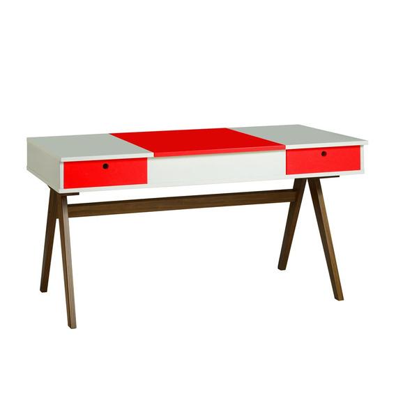 Mesa Escrivaninha Delacroix 430 Nogal/branco/vermelho