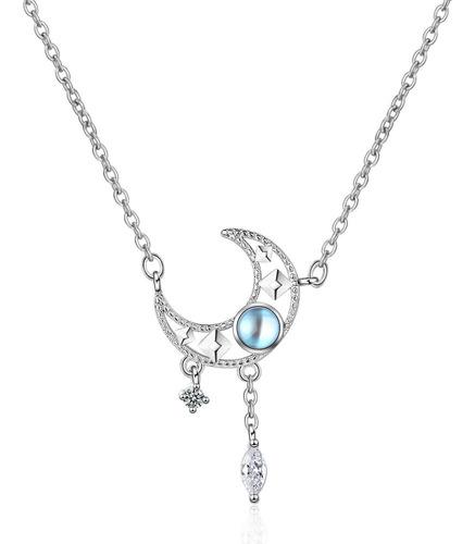 Imagen 1 de 10 de Collar Luna Plata 925 Cristal Azul Con Zirconias Colgantes