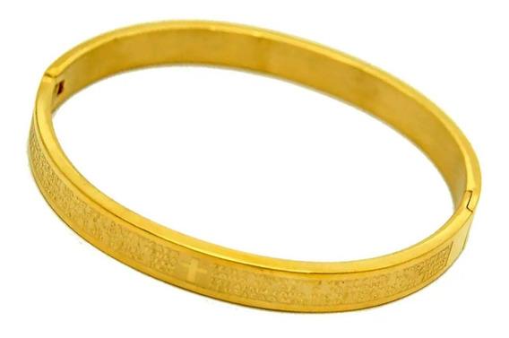 Bracelete Masculino Aço Folheado Ouro 18k Pai Nosso Promoção