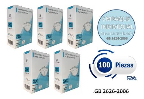 Imagen 1 de 10 de Cubrebocas Kn95 5 Capas Certificación Fda 100 Piezas