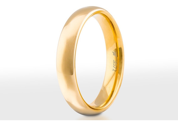 Aliança Casamento Banhada Ouro18k Tradicional 4mm Tungstênio