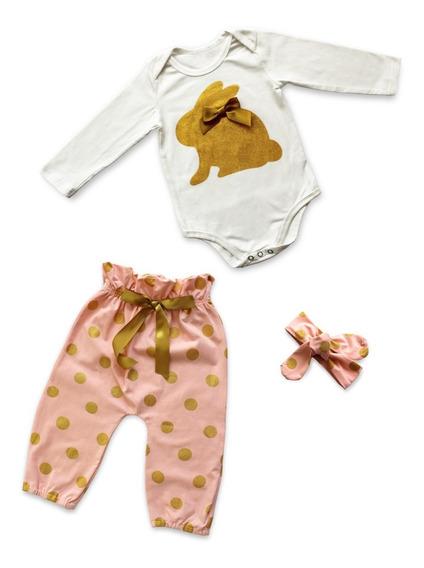Set 3 Piezas Para Bebé Niña Con Estampado De Conejo