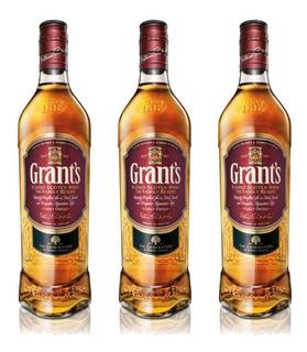 Whisky Grants Importado 750 Ml Whiskies Pack 3 Unidades