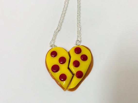 Collar Pareja Corazón De Pizza Incluye Cadenas Envío Gratis