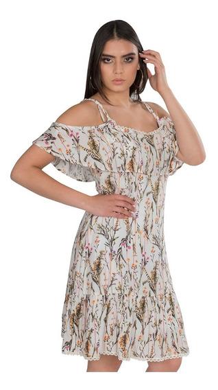 Vestidos Mujer Moda Casuales Tirantes Floreados Beige S91104