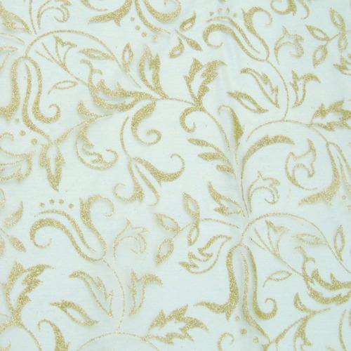 Tecido Decorativo Branco E Dourado - 150 X 200 Cm