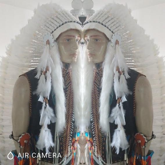 Cocar Indígena Nativo Americano Longo Branco Penacho