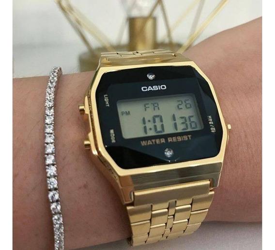Relogio Cassio Dourado Diamante Brilhante A159 Original