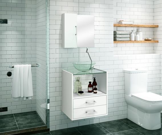 Gabinete Armário Banheiro Pia Espelho Branco Valencia 50