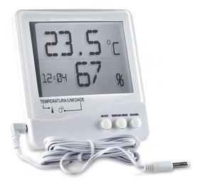 Termo-higrômetro Temperatura Interna E Externa Com Relógio