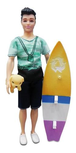 Muñeco Simil Ken Articulado 30 Cm Con Tabla De Surf Y Perro