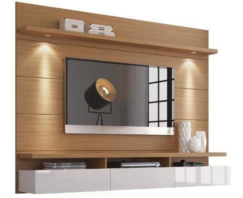 Mueble De Tv Moderno Blanco Y Madera Lacado  Ref: Mural22
