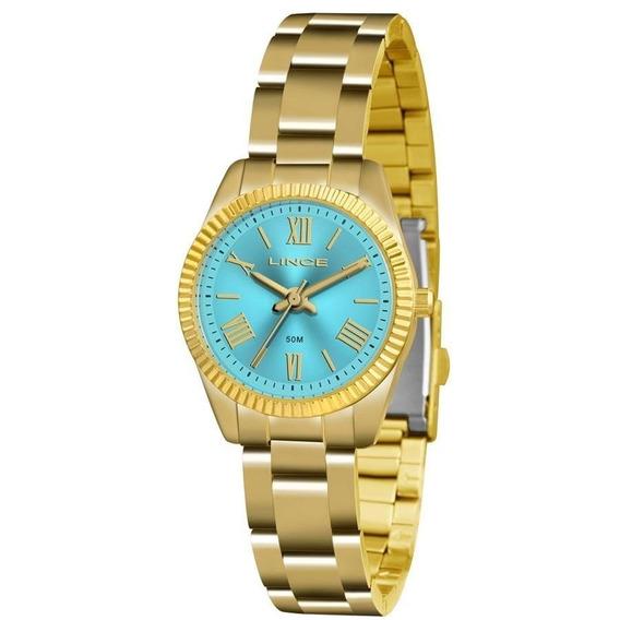 Relógio Lince Feminino Dourado Pequeno Lrg4492l Original