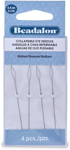 Beadalon - Agujas De Ojo Plegables (2.5in, Tamaño Mediano