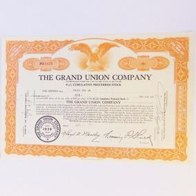 Rara Apólice Ação The Grand Union Company 1951 Objeto Antigo