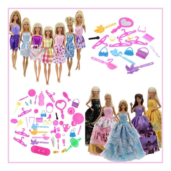 Kit + 60 Itens Acessórios Boneca Barbie - Roupas Sapatos Etc