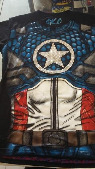 Playera Capitan America Niño Lycra Superheroe