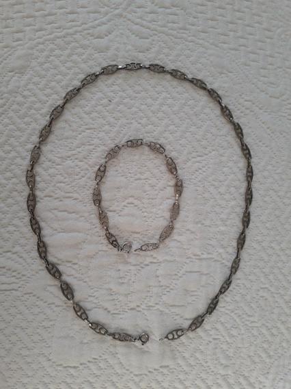 Conjunto Colar E Pulseira Prata 925 Frete Grátis