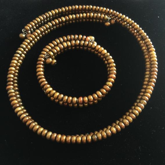 Gargantilla Y Pulsera De Perlas Doble Ambar - P3rlas