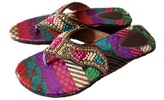 Sandalias Ojotas Zapatos Piedras India Hindu Bordadas
