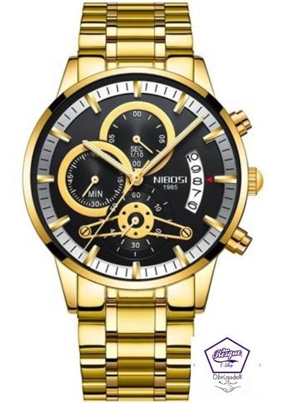 Relógio Nibosi 2309 Gold Masculino Aproveite