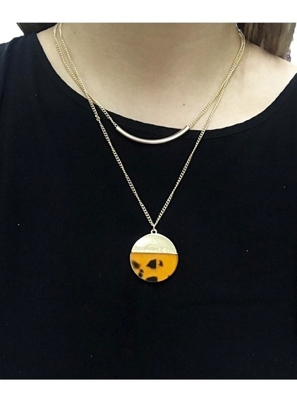 Collar Combinado Light Gold Con Animal Print D1700