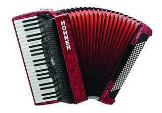 Hohner Br120r-n Bravo Iii 120 Bajo Piano Accordion In Red ®