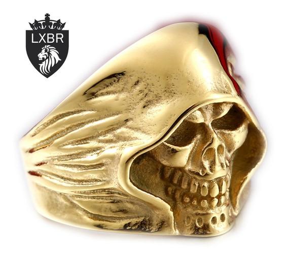 Anel Aço Inox Ouro 18k Dourado Caveira Punk Moto Metal Hip Hop Mc Lucifer Diabo Inferno Masculino Lxbr A106