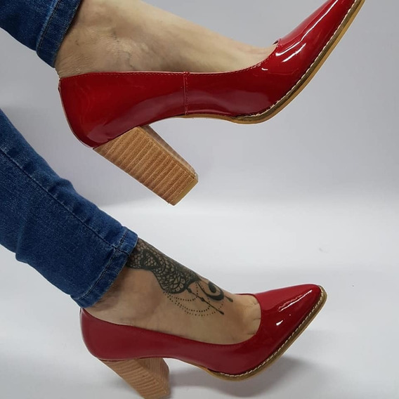 Stiletto Charol Rojo Taco Foliado Stampa Woman