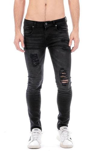 Imagen 1 de 7 de Jeans Pantalón Mezclilla Negro Skinny Hombre Black Rocket