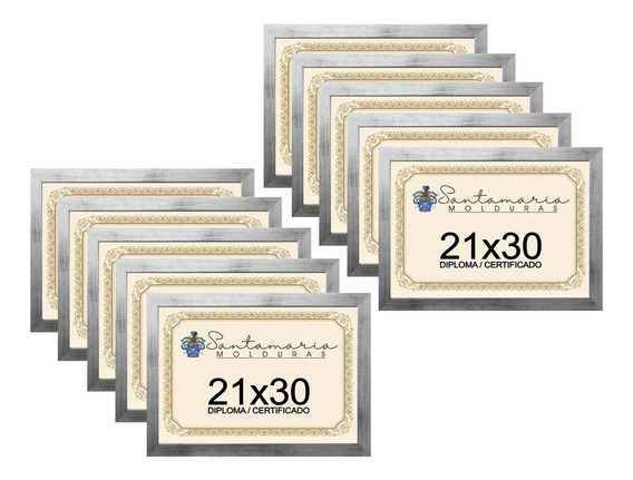 Kit 10 Molduras Porta Diploma Certificado A4 21x30 Prateado