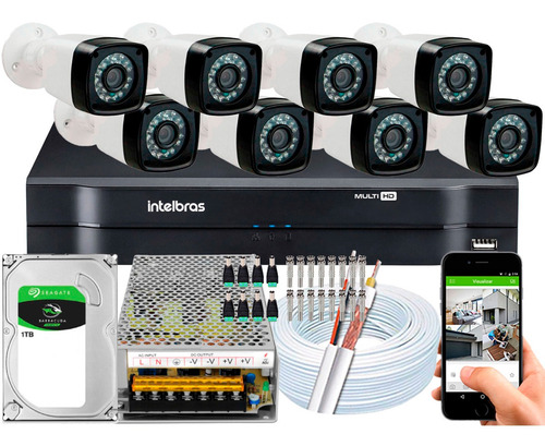 Kit Cftv 8 Câmeras Full Hd 1080p 2mp Dvr Intelbras Mhdx 1108