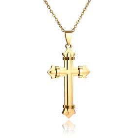 Colar Crucifixo Folheado A Ouro
