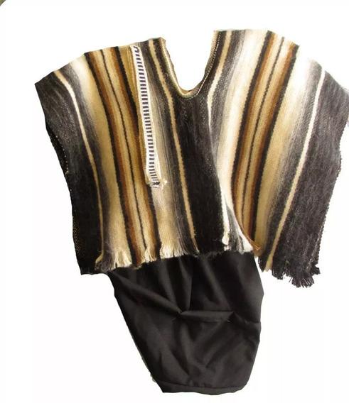 Disfraz Traje Mapuche Típico Niño Poncho Cintillo Pantalón