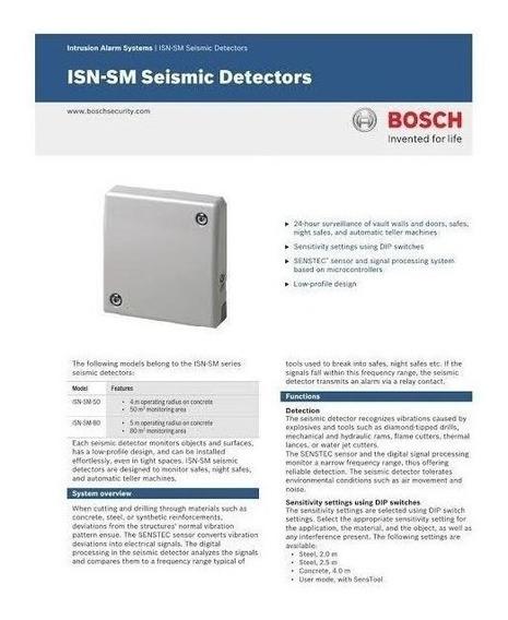 Sensor Sísmico Bosch Isn-sm-50